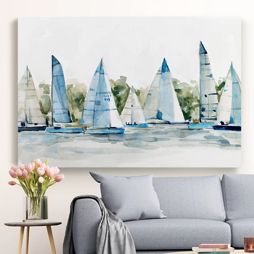 Pastel Marina I' - Painting Print on Canvas