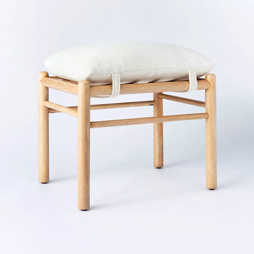 Wooden Upholstered Ottoman with Straps