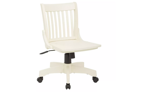 Armless Wood Banker's Chair Antique White