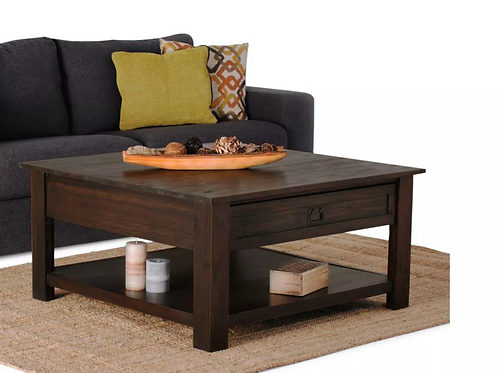 """38"""" Garret Solid Acacia Wood Square Coffee Table Distressed Charcoal Brown"""