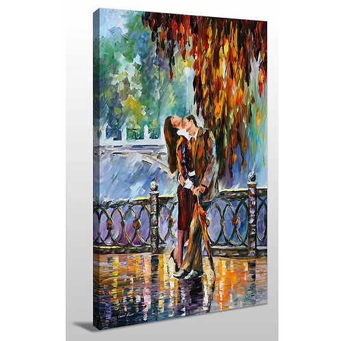 """""""Kiss After the Rain"""" by Leonid Afremov Painting Print on Wrapped Canvas"""