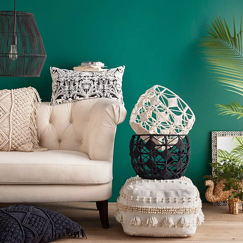 Lory Pouf Neutral Textured with Tassels