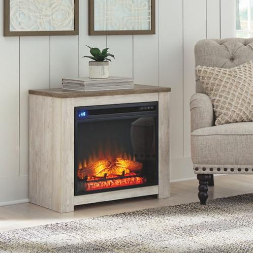 Willowton - Whitewash - Fireplace Mantel w/FRPL Insert