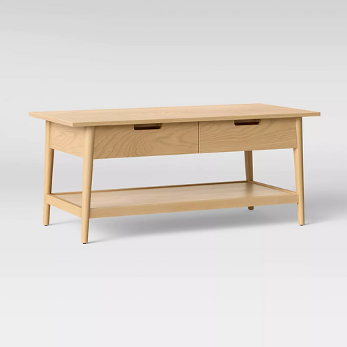 Ellwood Wood Coffee Table with Drawers Natural