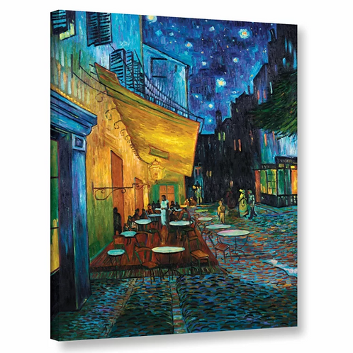 Cafe Terrace at Night by Vincent Van Gogh Framed Oil Painting Print on Canvas in