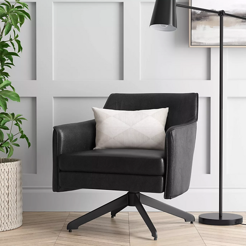 Albert Swivel Accent Chair with Metal Base Black Faux Leather