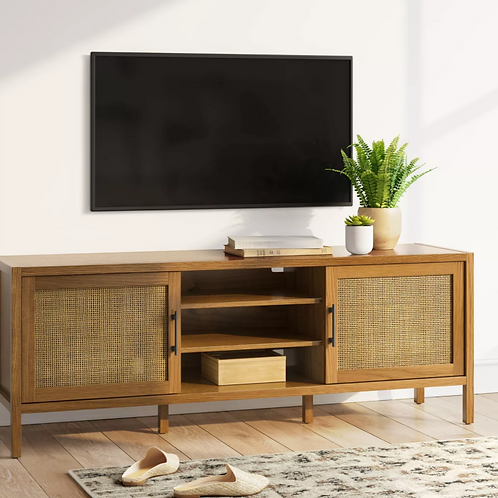 """60"""" Warwick TV Stand with Storage Natural"""