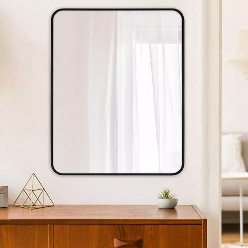 """24"""" x 30"""" Rectangular Decorative Wall Mirror with Rounded Corners"""