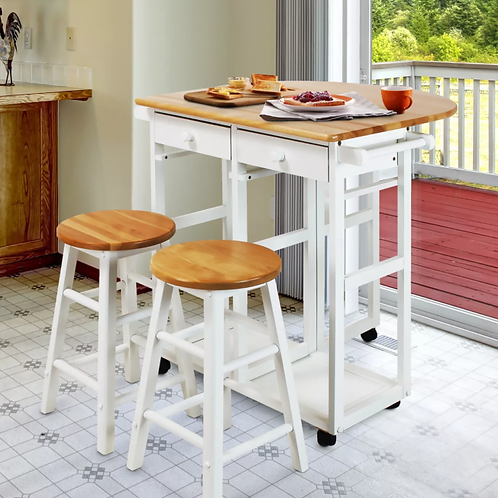 Breakfast Cart with Drop Leaf Table & Stool Set, WHITE