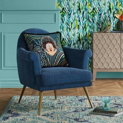 Myna Tufted Armchair with Brass Legs Velvet Blue - Opalhouse™