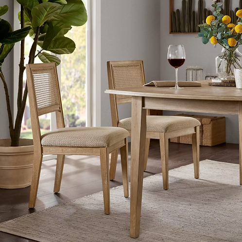 Set of 2 Kelly Dining Side Chairs Light Brown
