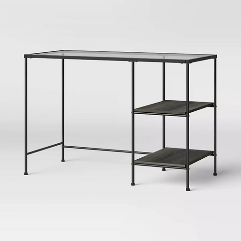Fulham Glass Writing Desk with Storage Black