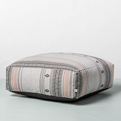 Decorative Ticking Stripe Outdoor Floor Cushion Black/Orange