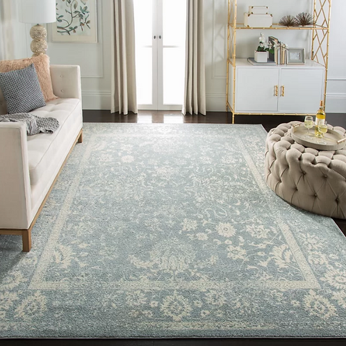 9' x 12' Howton Blue Gray/Off-White Ivory Area Rug