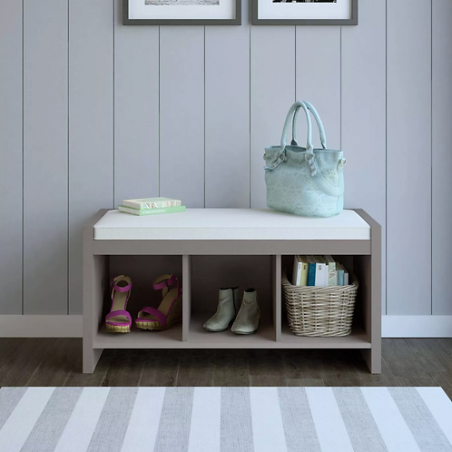 Hendland Entryway Storage Bench with Cushion Taupe