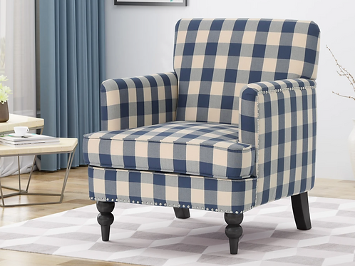 Eve Tufted Accent Chair, blue checkerboard