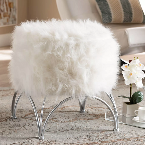 Celia Faux Fur Upholstered Silver Metal Ottoman White/Silver