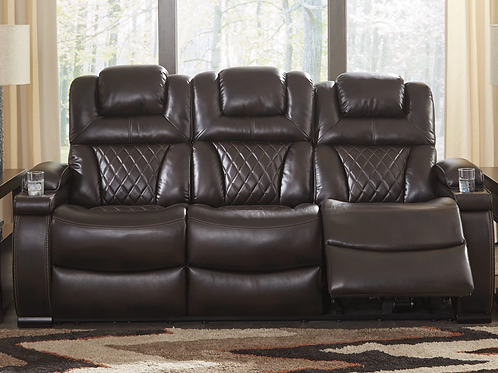 Warnerton - Chocolate - PWR REC Sofa with ADJ Headrest (order only)
