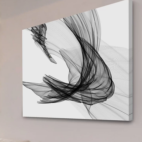 Abstract Black And White' Painting Print on Wrapped Canvas