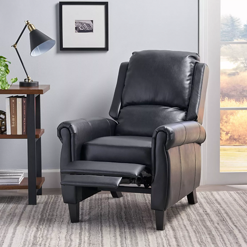 (See Note) Haddan Faux Leather Recliner Club Chair Black
