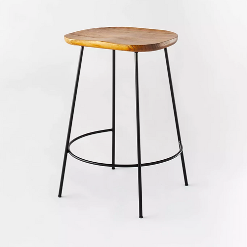 Metal Base Counter Height Stool with Wood Seat Brown