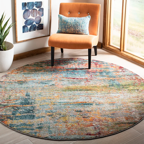 Round 3' Muhan Abstract Teal/Orange Area Rug