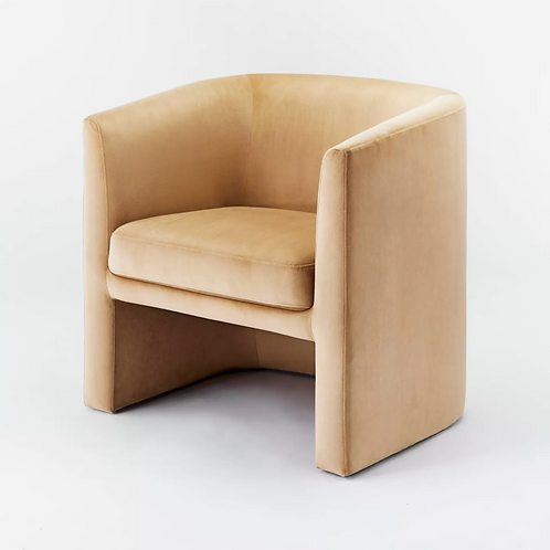Vernon Upholstered Barrel Accent Chair Tan