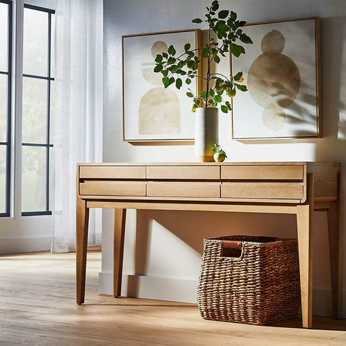 Herriman Wooden Console Table with Drawers Natural