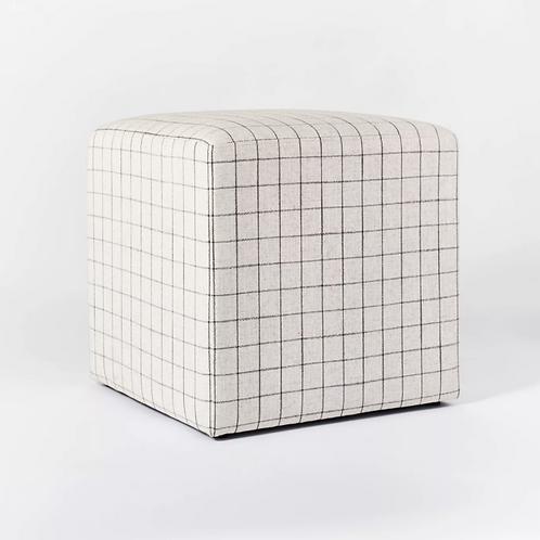 Lynwood Square Upholstered Cube Windowpane Plaid