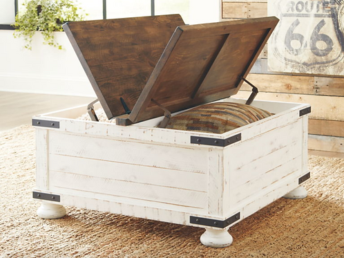 Wystfield - White/Brown - Cocktail Table with Storage
