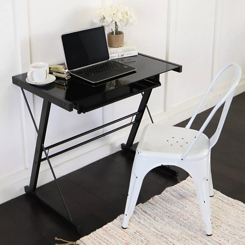 Glass Computer Desk with Keyboard Tray Black