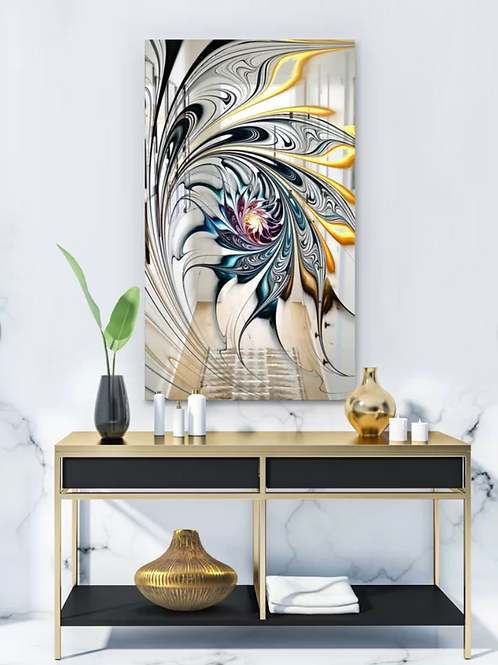 Stained Glass Floral Art Modern Frameless Accent Mirror
