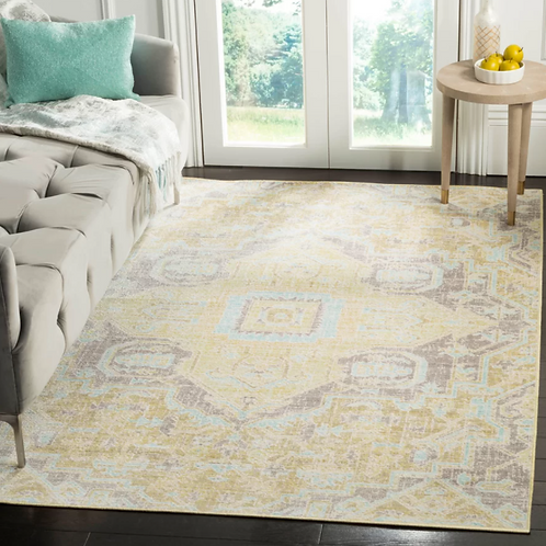 Square 6' Chauncey Oriental Yellow Area Rug