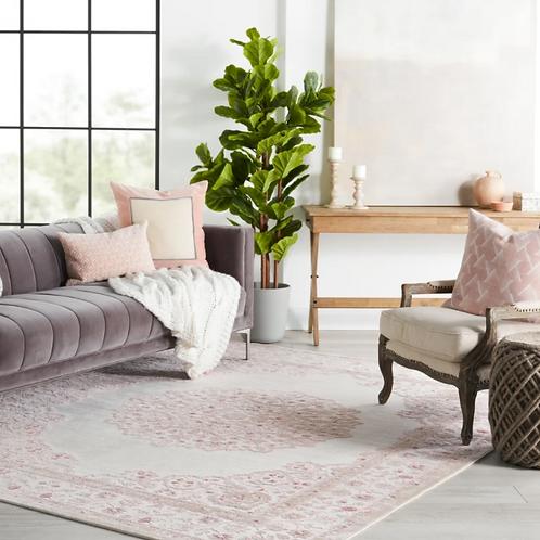 """7'6"""" x 9'6"""" Devin Oriental Pink/White Area Rug"""