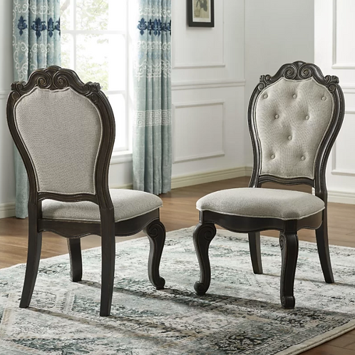 Nueva Tufted Upholstered Side Chair in Espresso