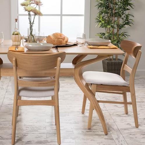 Idalia Dining Chair, Light Beige/Oak