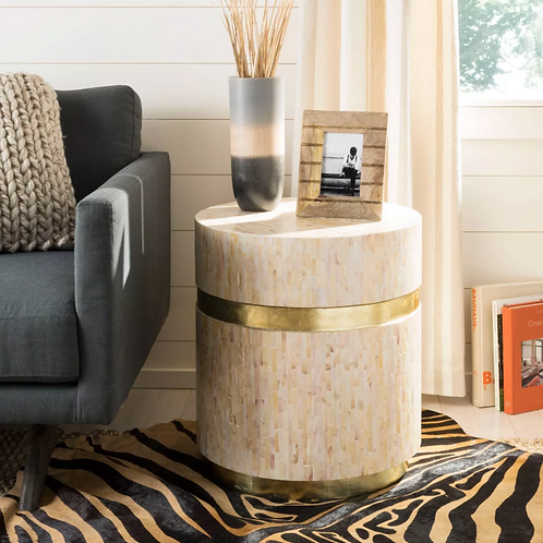 Perla Mosaic Round Side Table Pink Champagne/Gold
