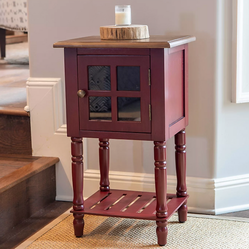 James Window Storage Side Table Red - Décor Therapy