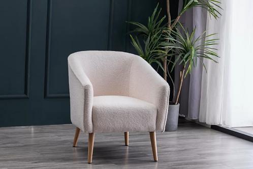Faux Shearling Barrel Accent Chair - Cream Faux Shearling