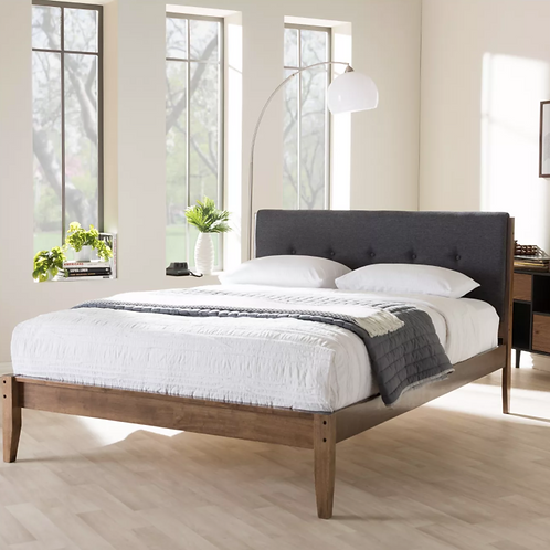 (See note) Leyton Mid - Century Modern Fabric Platform Bed - King