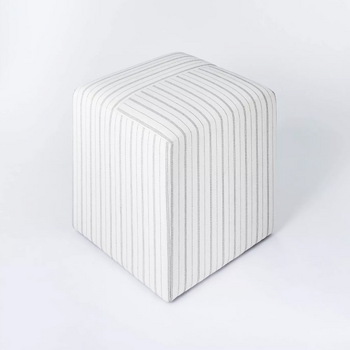 Lynwood Square Upholstered Wide Cube Stripe White