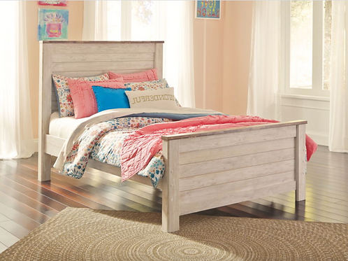 Willowton - Whitewash - Full Panel Bed (order only)