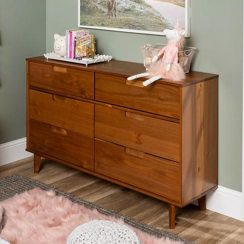 Mid-Century Modern Classic Wood 6 Drawer Groove Dresser Caramel - Saracina Home