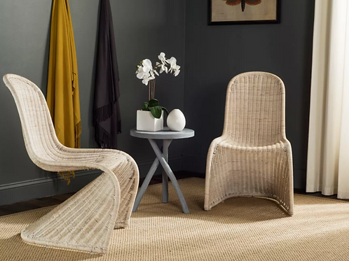 Ana Wicker Side Dining Chair - Natural (Set of 2)