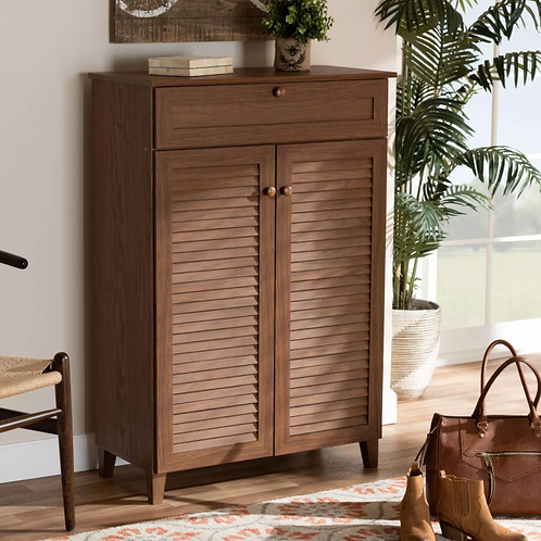 Shelf Wood Shoe Storage Cabinet with Drawer Coolidge Brown