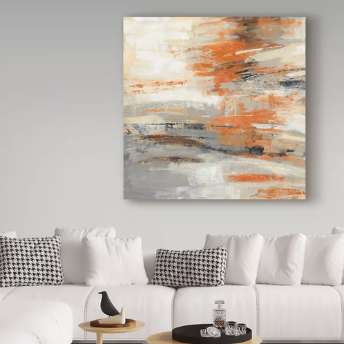 Golden Dust Orange' Acrylic Painting Print on Wrapped Canvas