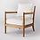 Thumbnail: Ladder Back Wood Arm Accent Chair Cream