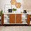 "Thumbnail: 58"" Modern Bookmatch Buffet White/Teak - Saracina Home"