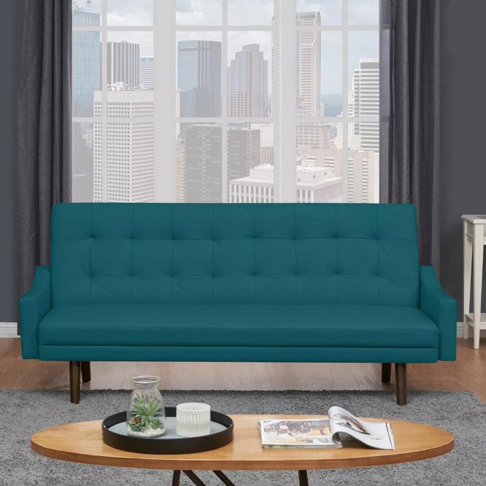 Fine Oak Creek Click Clack Futon Sofa Bed Caribbean Blue Caraccident5 Cool Chair Designs And Ideas Caraccident5Info