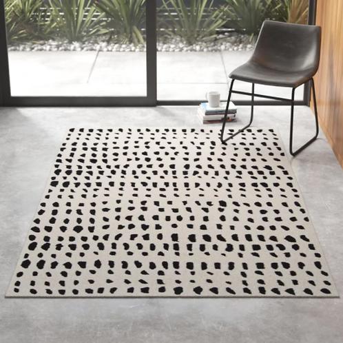 5x8 Polka Dots Handmade Tufted Wool Ivory/Black Area Rug
